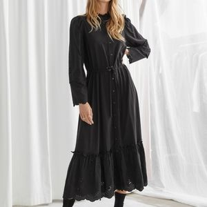 & Other Stories   NWT Button Up Midi Dress Black 2
